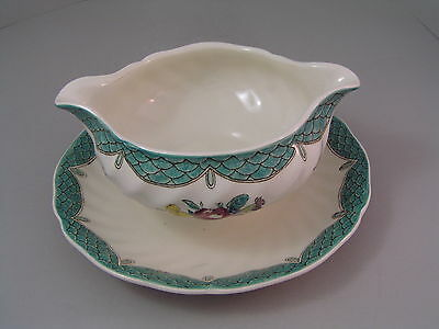 Royal Doulton Lowestoft Bouquet Hand Painted Gravy/sauce Boat With Fixed Saucer.