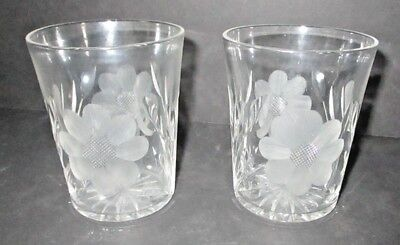 Vintage Pair of Etched Glass Crystal Floral Tumblers Flowers Czech Water Glasses