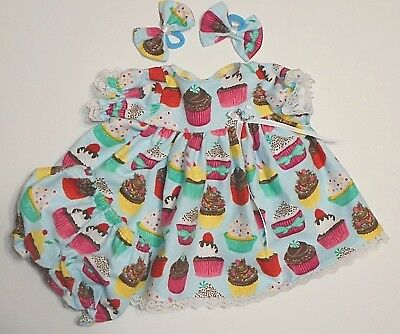 "Cabbage Patch Doll Clothes: Fit 16""doll:cupcake Print Nightie,panty& Bows"