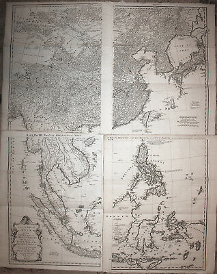 Wall map of Asia China Korea Indonesia Thailand 4 sheets Postlethwayt 1755 RARE