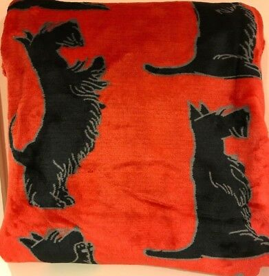 Fire Red Plush Throw with Black Scottie Dogs By Timberlux 50x60 inches NWT