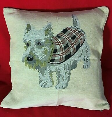 Jacquard woven (tapestry) Cushion / PIllow Cover with Wheaten Scottie Dog- New