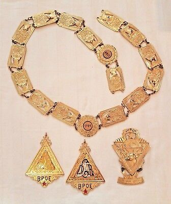 Vintage BPOE Elks Ceremonial Dress Collar Necklace 1784 & 3 medallions~gold tone