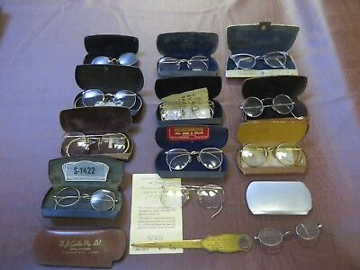 Antique Vintage Lot Of 12 Eye Glasses Cases Papers Letter Opener Wire Rim