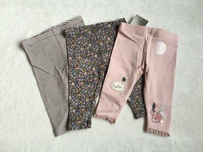 ***BNWT Next baby girl Ditsy Bunny Striped leggings 3 pack set 3-6 months***