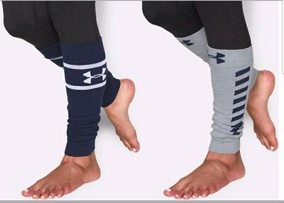2 Pairs Womens Under Armour Sport Leg Warmers Navy Blue Gray One Size
