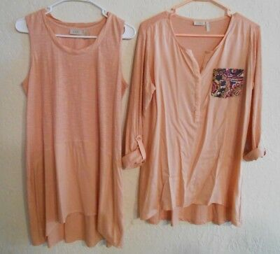 Lot of 2 LOGO By Lori Goldstein Tops Size Small Coral Peach Tank & Long Sleeve