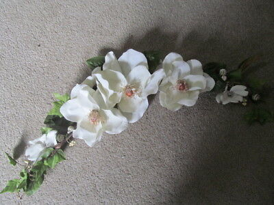 """Home Interior /  Homco White Magnolia Flower Swag  Approx. 30"""" Wide"""