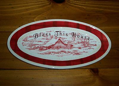 Fitz and Floyd Town & Country Bless This House Tray 2007 NWT