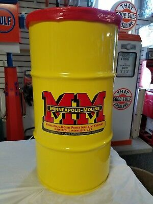 Minneapolis-Moline Tractor Vintage Style 16 Gallon Cold Rolled Steel Trash Can