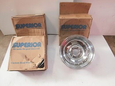 """Set Of Four Vintage Made In Usa Chrome 14 X 6 Wheels 5 On 4.50"""" Or 5 X 114.3 New"""