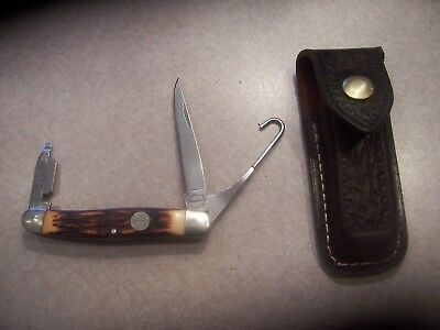 Vintage Remington Umc Usa R1 Delrin Upland Bird Knife With Choke Blade & Sheath