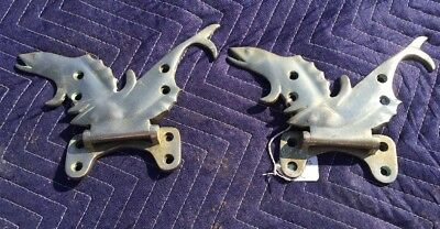 BEAUTIFUL PAIR Of  OLD (1928) LARGE VINTAGE CAST METAL FISH DOOR CABINET HINGE