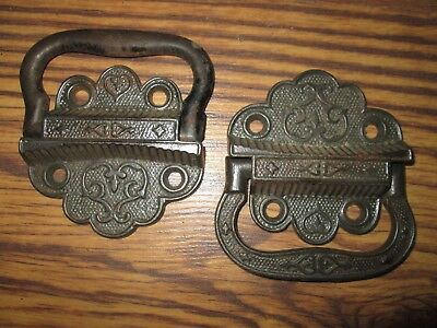 Pair Decorative Victorian Cast Iron Tool Chest Trunk Handles - Nice Detail 1871