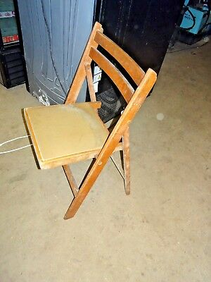 Old Vintage Retro Antique Industrial Workshop Solid Wood Wooden Folding Chair