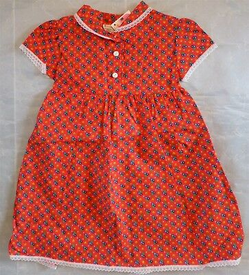 VINTAGE NWT Sears SS Red Print Empire Dress Girl 5 Perma-Prest Lace Trim Modest