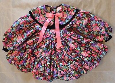 VTG Marthas Miniatures LS Floral Dress Girl T3 Ruffles Slip Bell PICS Pageant