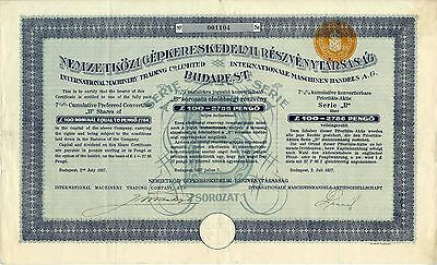 Ungarn - Hungary Internationale Maschinen-Handels AG. 100 Pound 1927
