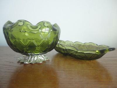 Antique Vintage Set Of Two Green Depression Bowl & Plate Very Unique & Sturdy
