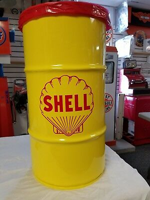 1930S 1940S 1950S Shell Oil Vintage Style 16 Gallon Cold Rolled Steel Trash Can
