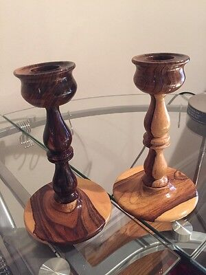 Wood Candle Holders Set Of 2