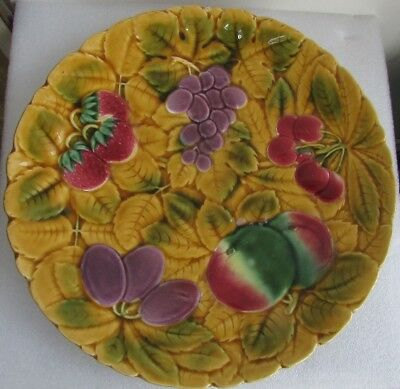 Antique French Majolica Embossed Fruit Bowl Charger Strawberry Grapes Leaves