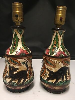 PAIR OF ANTIQUE ITALIAN BORZELLI Pottery Lamps 9""
