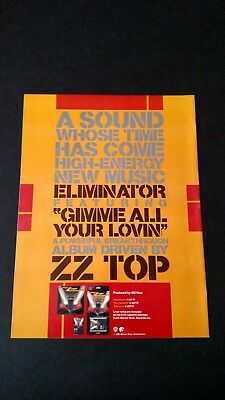 ZZ TOP  BACK IN MY STORES Ad. RARE ORIGINAL PRINT PROMO POSTER AD