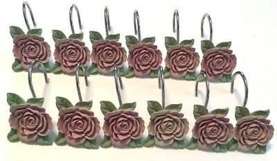 Pink Rose Shower Hook Set 12 Resin Shabby Chic Farmhouse Cottage Victorian