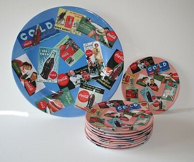 Collectible Set Coca Cola Licensed 10  Plates and Platter