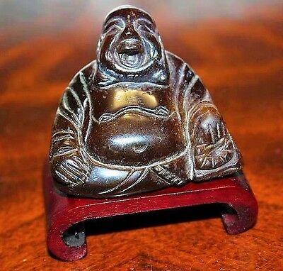 VTG Miniature Carved Tiger's Eye Chinese Buddah Statue Sculpture W/ Wood Stand