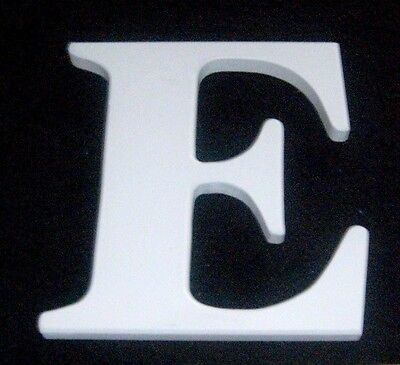 "White Wooden Alphabet Letter 'E' Wall Hanging - measures 7½"" x 6¾"" x 5/8"""