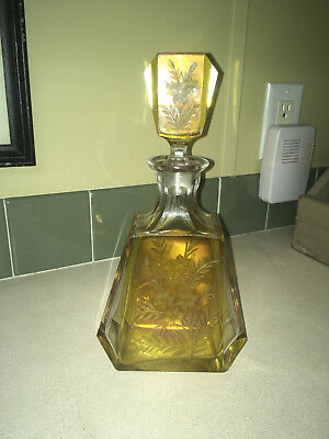 Beautiful Moser Bohemian Cut Engraved Amber Flashed Glass Decanter With Topper