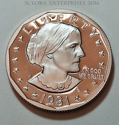 "1981 S Susan B. Anthony (Sba) *proof* Dollar Coin *type Ii (2) - ""clear S""*  Sds"