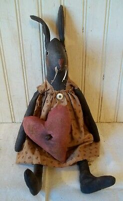 Primitive Grungy Love Bunny Girl Rabbit Valentine's Day Doll & Her Heart