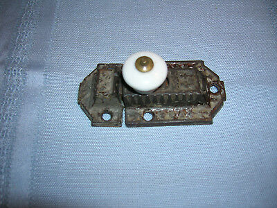 Antique Cabinet Jelly Cupboard Spring Latch, Cast Iron With White Porcelain Knob