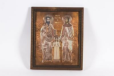 Panagiotes (Peter) Zoudis Signed Icon: Saints Raphael, Nicholas And Irene