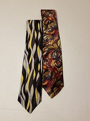 LOT OF 2 MEN'S SILK TIES COCKTAIL Abstract