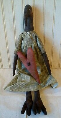 Primitive Grungy Skinny Prim Crow Lady Valentine's Day Doll & Her Heart