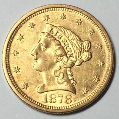 1878-S $2.5 LIBERTY Gold Piece EARLY Very SCARCE/LOW MINTAGE Date! Attractive AU