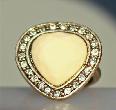 Silver tone heart clear rhinestones faceted white resin stone RING size 8