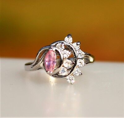 Pink navette with clear CZ stones silver tone   RING size 6