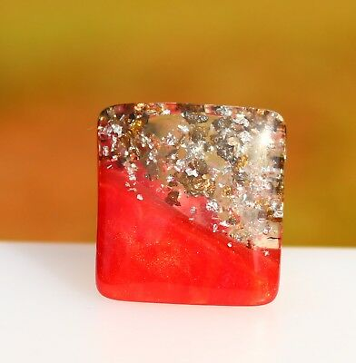 Red Lucite with confetti inlay RING size 9.5