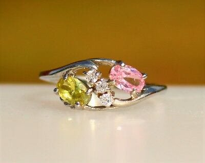 Olivine and pink oval CZ stones silver tone RING size 8