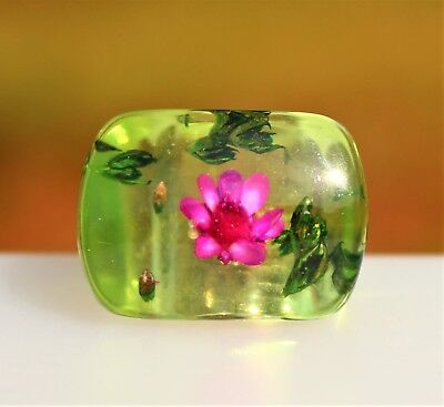 Green with pink flower inclusion lucite   RING size 6.5