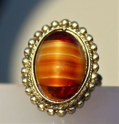 Brown stipes Givre glass silver tone adj RING size 7