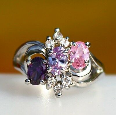 Royal purple pink and blue oval CZ stones silver tone RING size 7