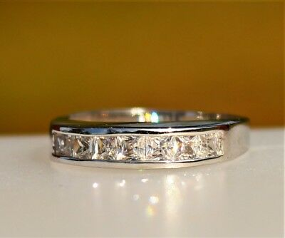 Silver tone with square clear CZ inlay stones great cond RING size 9