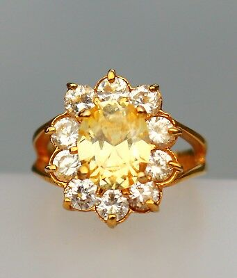 Gold tone yellow and clear CZ stones RING size 7.5