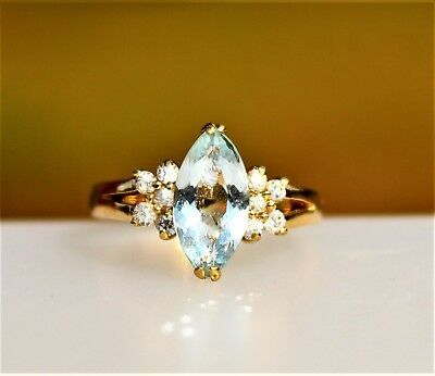 Genuine pale blue aquamarine stone & CZ stones gold tone RING size 6.5